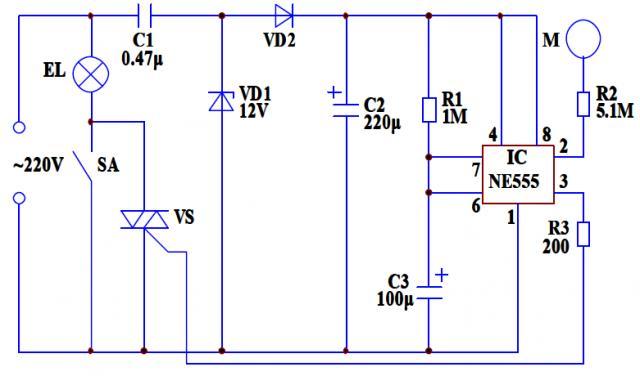 电路23触摸式延时照明灯   本电路安装在家里的台灯上具有触摸自熄灭