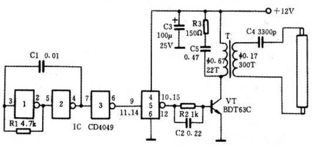 电路26 12v供电的电子节能灯   本设计采用12v蓄电池供电,可点亮