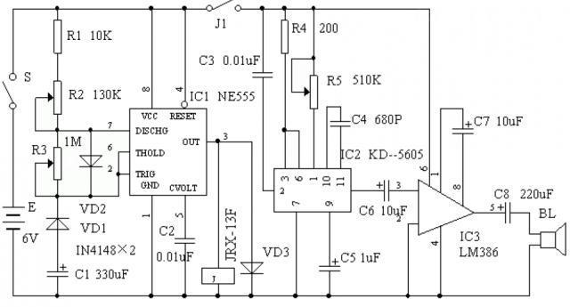 电子仿声驱鼠器电路图