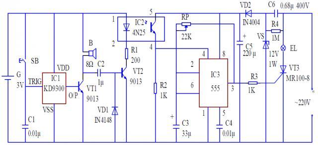 μa555,sl555等时基集成电路;ic1选用普通的门铃芯片如