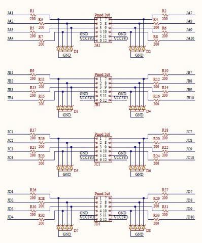 图7是8位色彩的vga接口电路