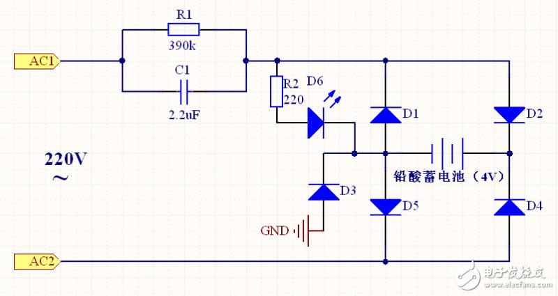 如下图1,为雅格 YG-3930台灯电源电路原理图。各元器件的作用如下: R1、C1:构成RC降压电路。R1为C1的放电电阻,I(average)=0.89*V/Zc 0.89*220*2*Pi*f*C=0.89*220*2*3.14*50*0.0000022=0.13526A; R2、D6:充电显示; D1、D2、D4、D5:构成铅蓄电池充电电路; D3:与LED形成分压电路,因为铅蓄电池为4V,而白色LED灯的工作电压为3.