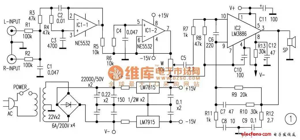 与大家分享ne5532 lm3886低音炮电路