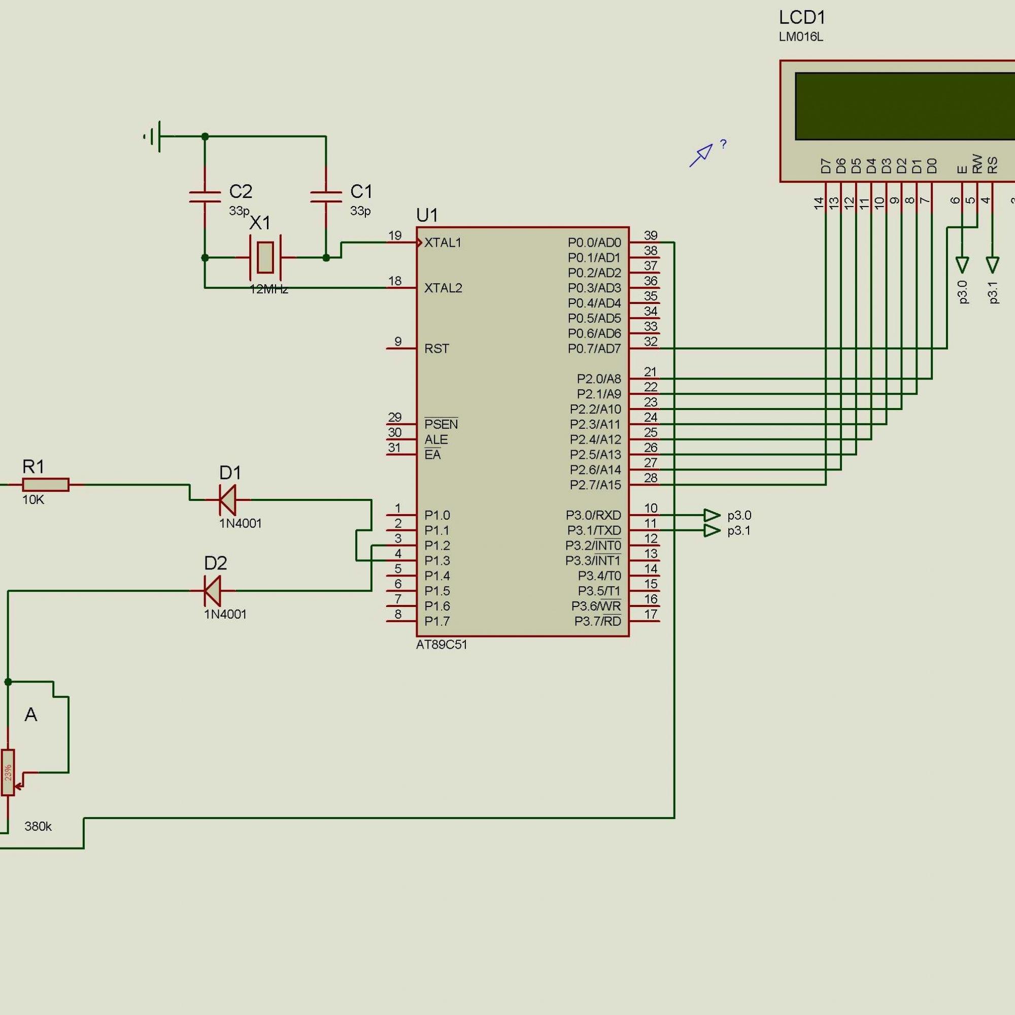 基于stc89c52及hr202湿敏电阻的湿度测试仪 proteus电路图