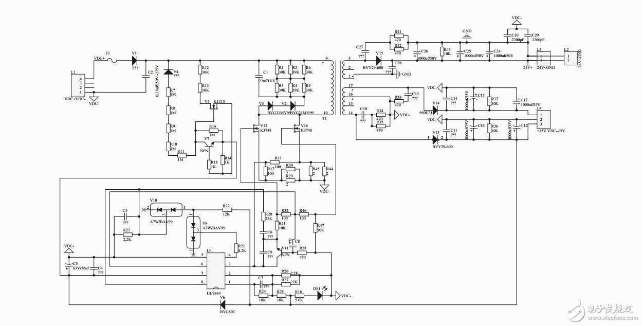 首先 这个班只是我仿制的,其中的V4不知道是什么型号。我想知道这个电路中的UC3444是怎么启动的,输入端电压是交流整流滤波之后得来的。大概在300V左右。所以的问题和图,都在压缩包内,望各位大神帮助!跪求大神!