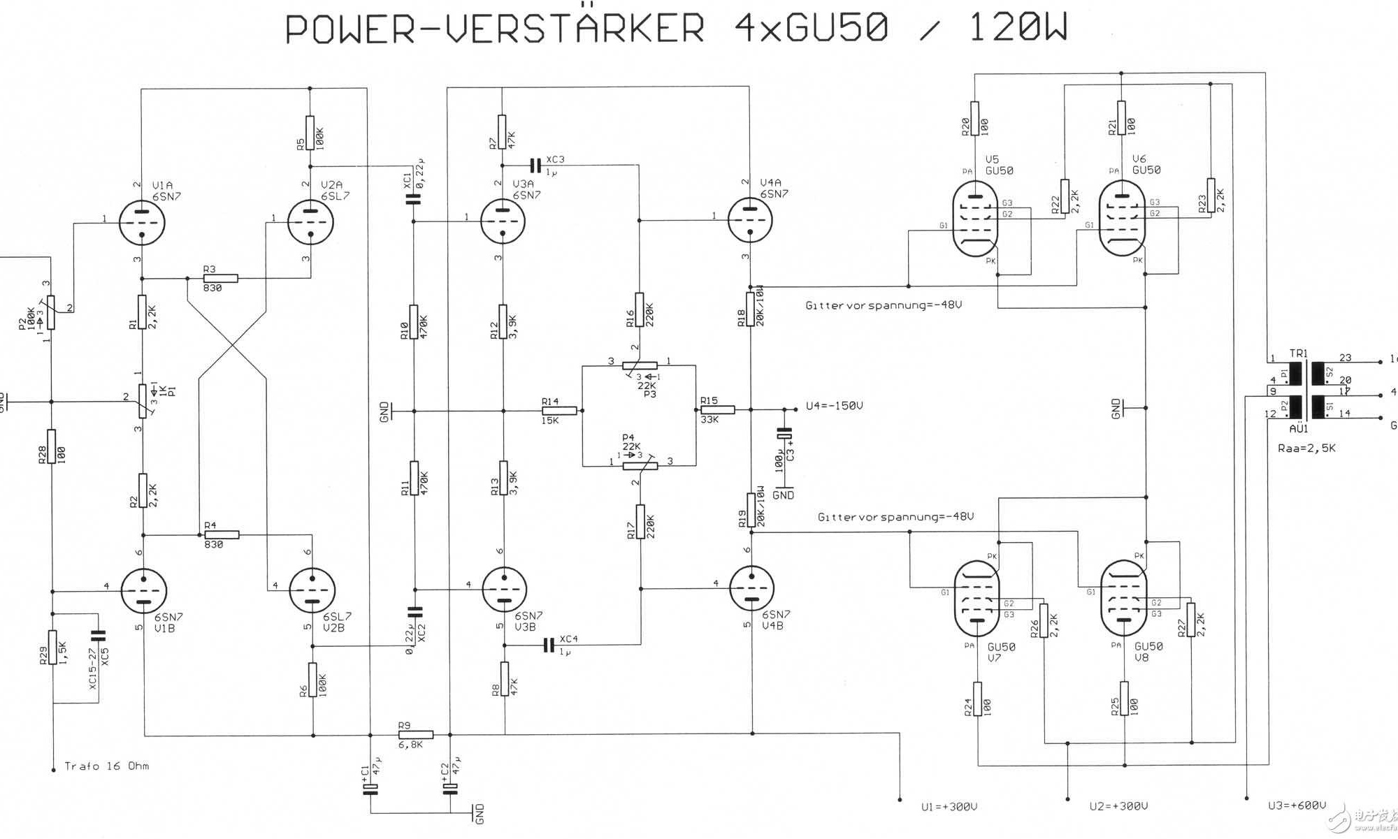 120w前后及纯电子管功放电路