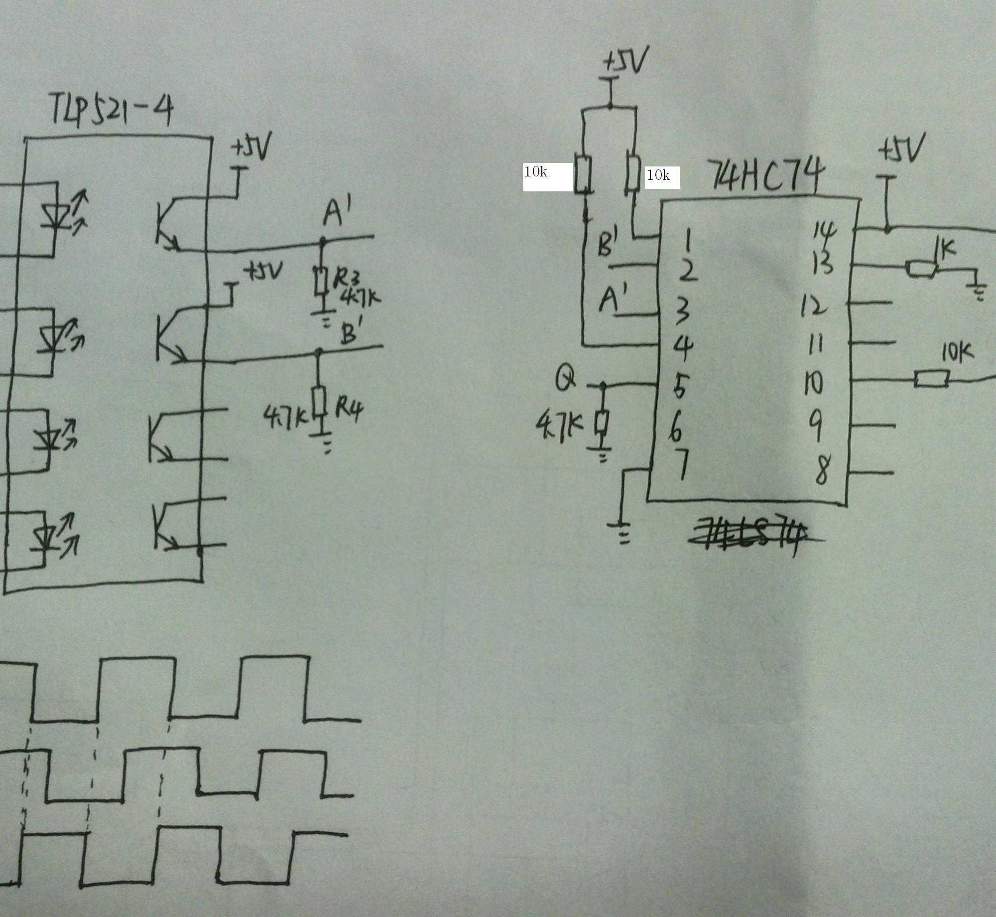 求助:双d触发器74hc74用于旋转编码器鉴相遇到问题