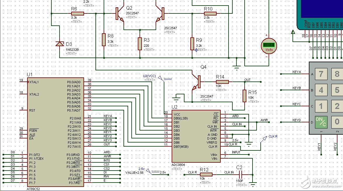 基于单片机的可调直流稳压电源各个模块所对应的电路