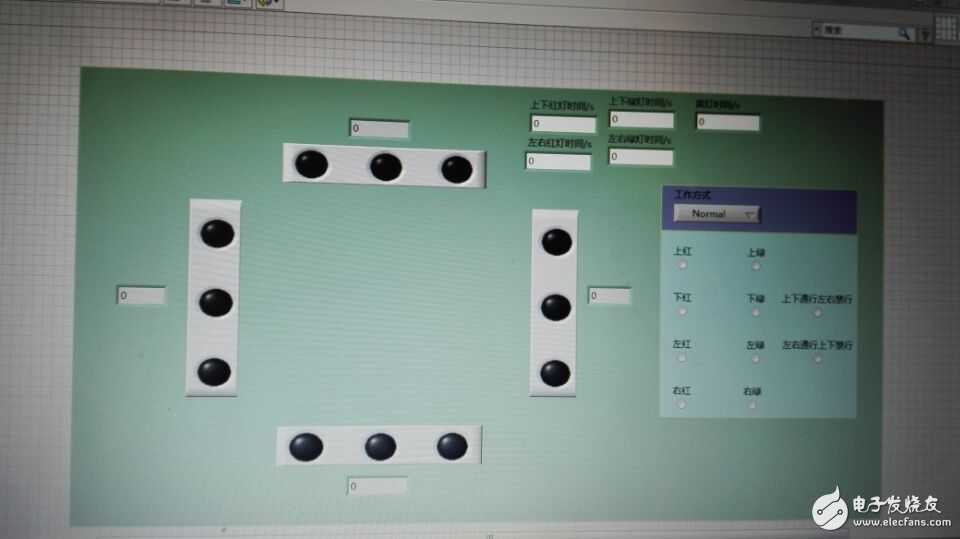 求用labview做十字路口的交通灯  要有倒计时  能改时间  能手动控制