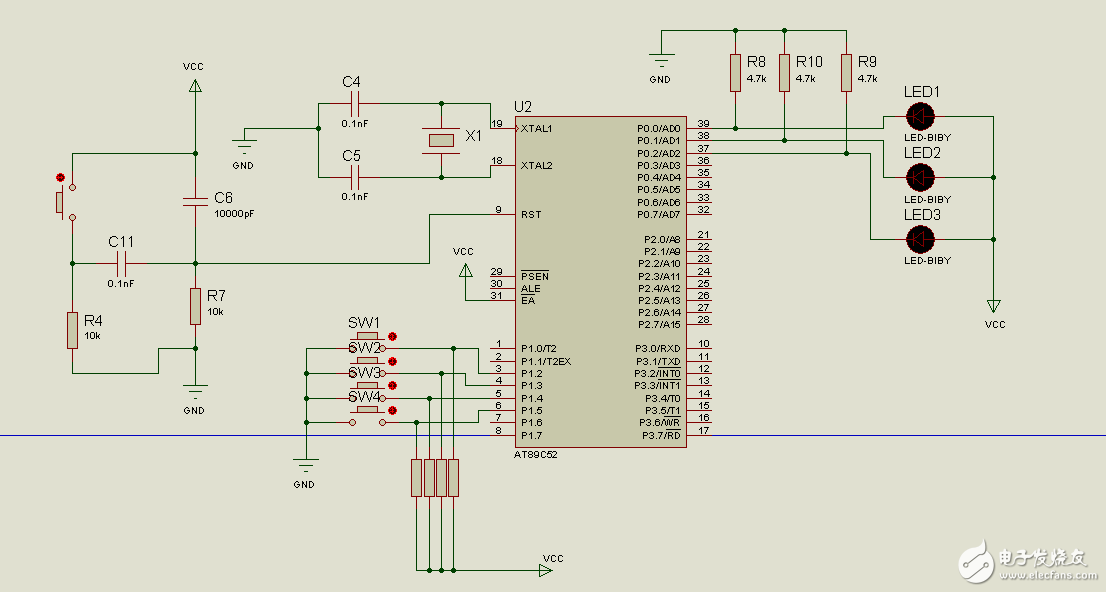 我想设计一个按下按键1,3个led以流水灯的样子闪烁,按下按键2,led1亮