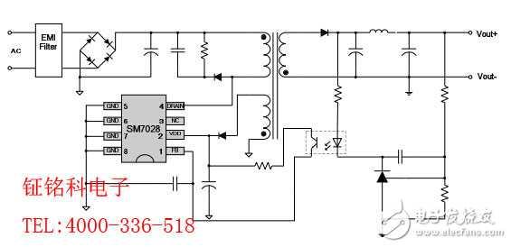 SM7028美的电磁炉电源芯片方案图片