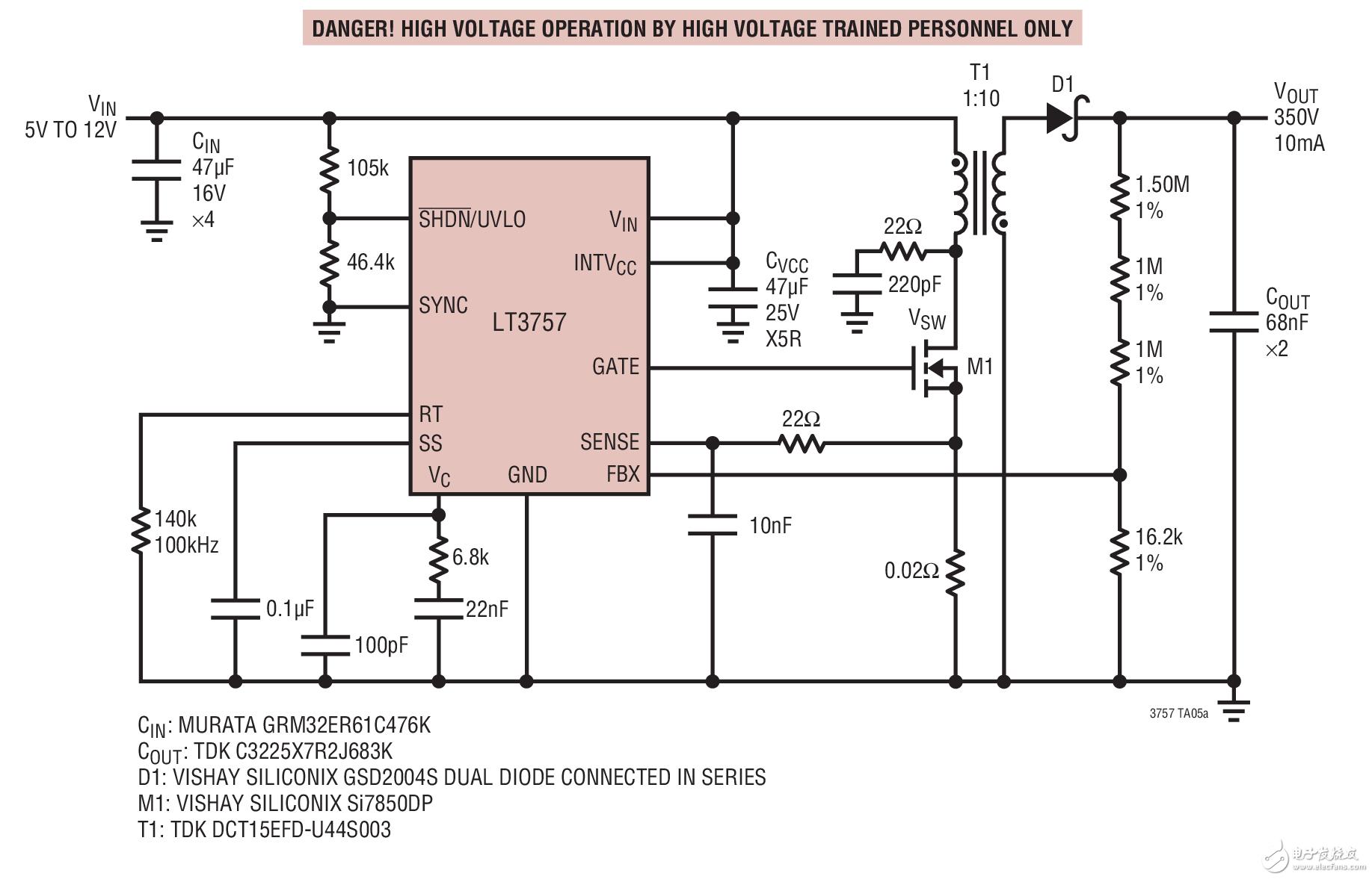 该电路是凌力尔特公司提供的解决方案,该电路的做用是9v升压至350v,10