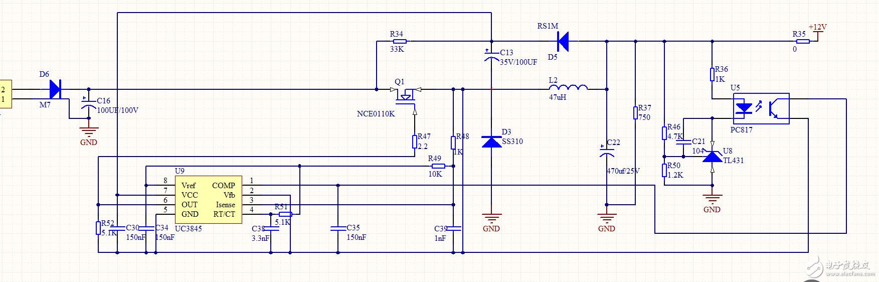75nf75场管自激电路图