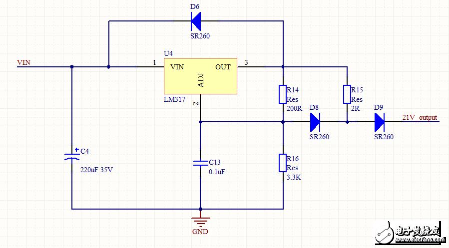 提供的lm317构成的限压恒流电路给5节18650电池(自带保护模块)充电
