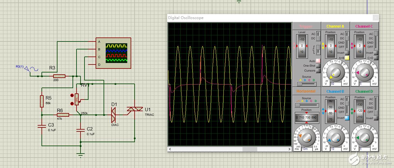 proteus仿真双向可控硅的调光电路,过零时双向可控硅为什么不能自动