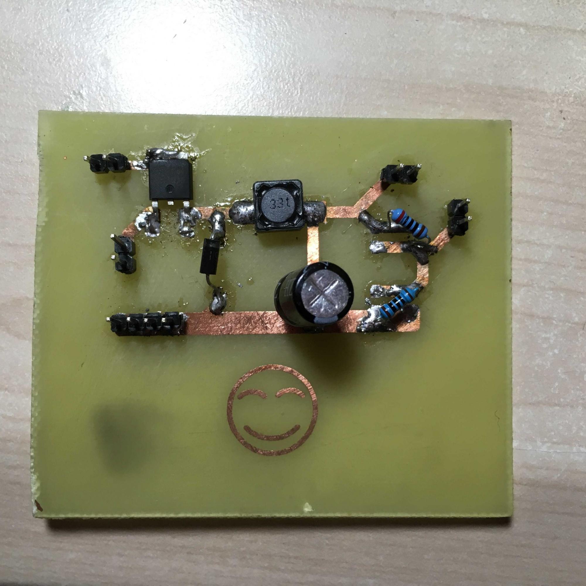 采用的元件:        主电路:nmos(aod4184),电容(100uf),电感