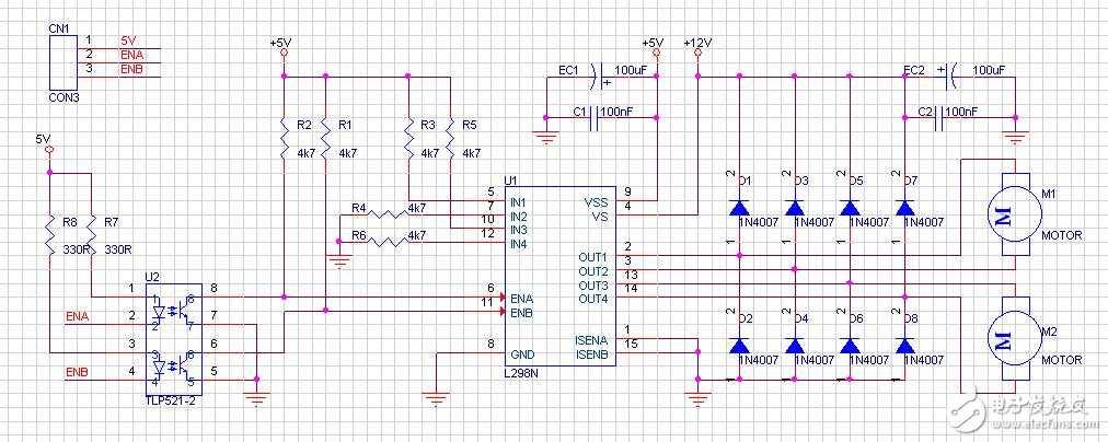 请教一下关于l298n驱动直流电机的问题,能不能这样做?
