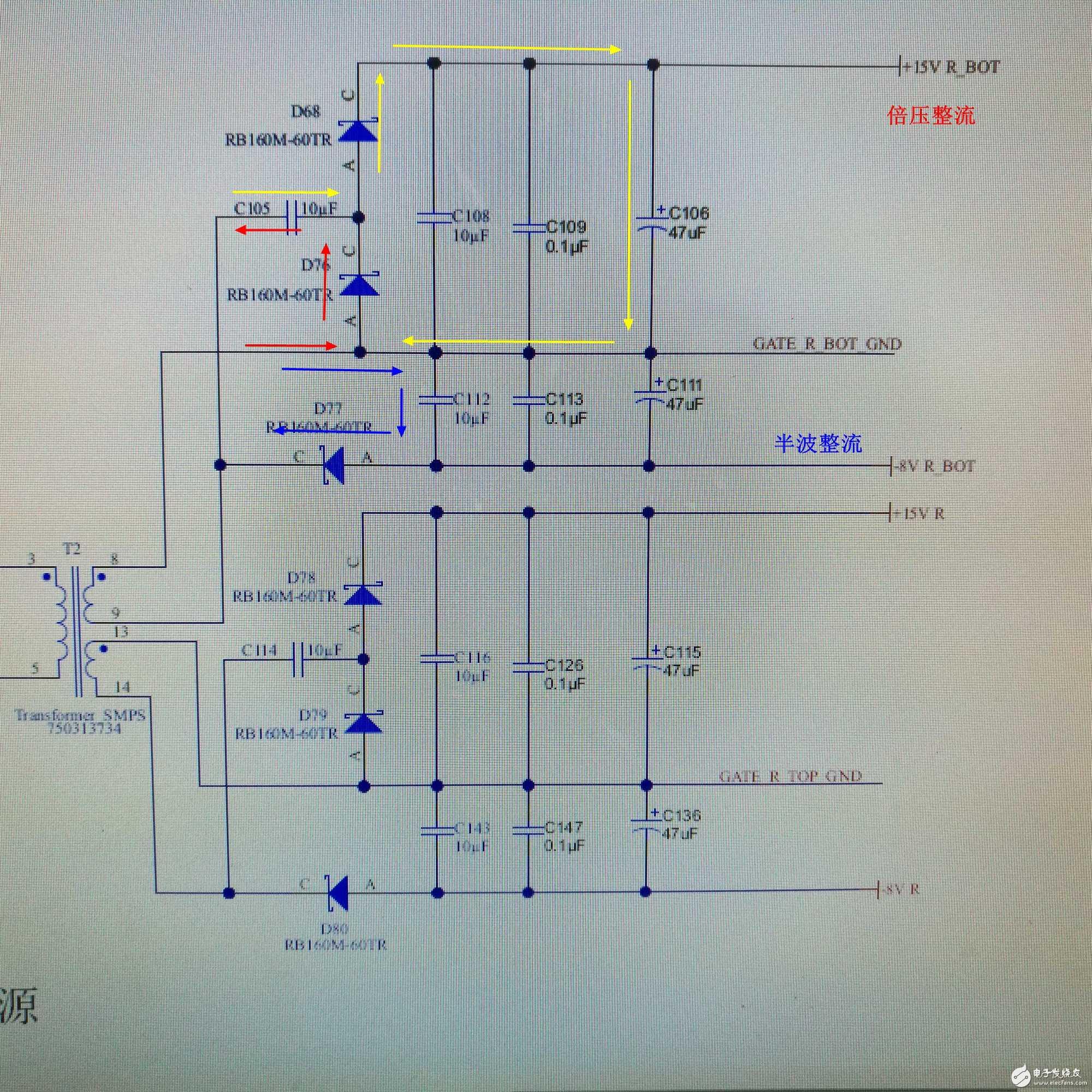 【不懂就问】 下图中,软件画的那张图中,设计资料中说倍压器将次级绕组产生的8v变成十六伏特 那么图中右边的电路就应该是倍压电路了,但是自己搜索到的倍压电路是手绘的那张图中的两个电路 那软件画的那张图变压器二次侧是倍压电路吗?